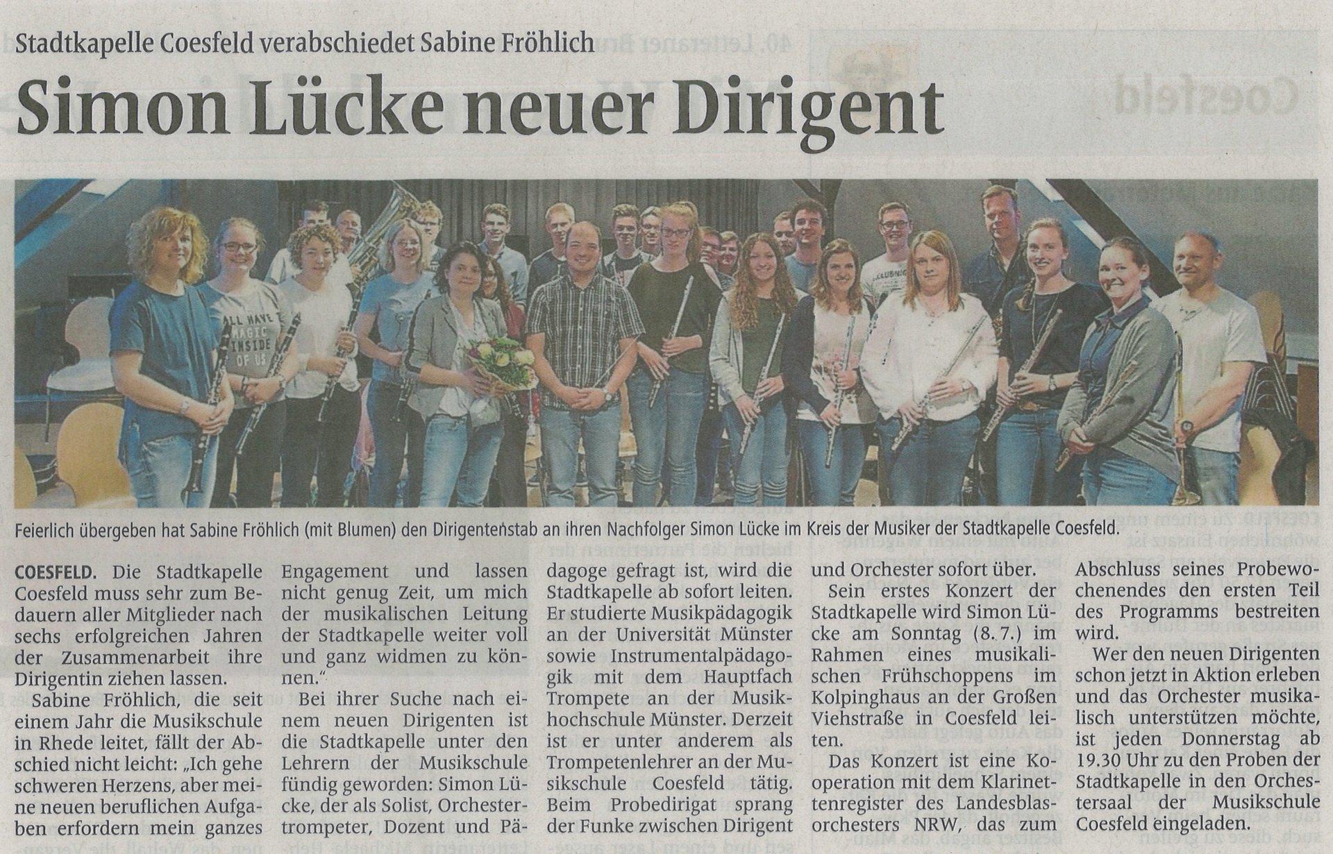 Unser neuer Dirigent Simon Lücke
